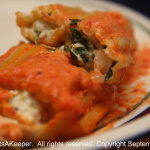 Chicken Cannelloni with Roasted Red Pepper Sauce