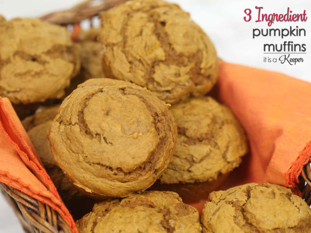 3 Ingredient Pumpkin Muffins - this easy dessert recipe is super simple to make