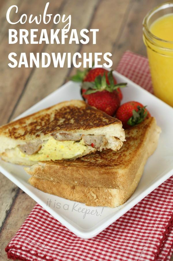 These easy Cowboy Breakfast Sandwiches are an easy breakfast idea.
