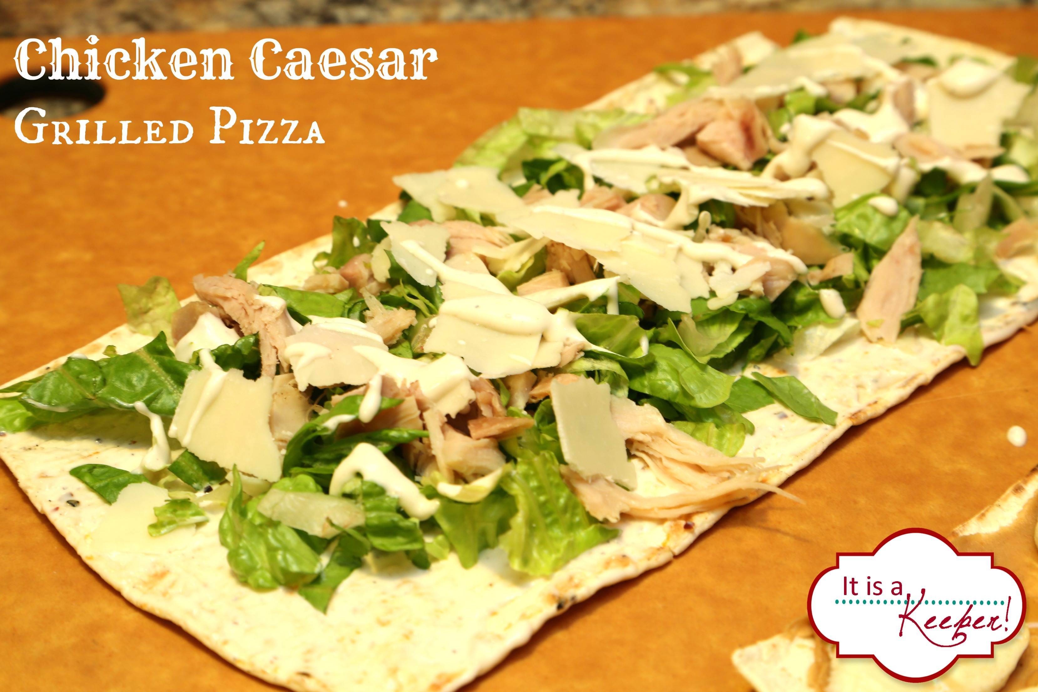 Chicken Caesar Salad Grilled Pizza