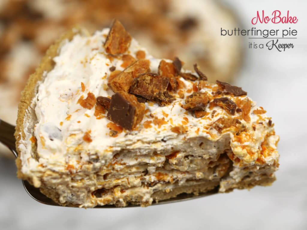 No Bake Butterfinger Pie - this easy dessert recipe takes 5 minutes to make