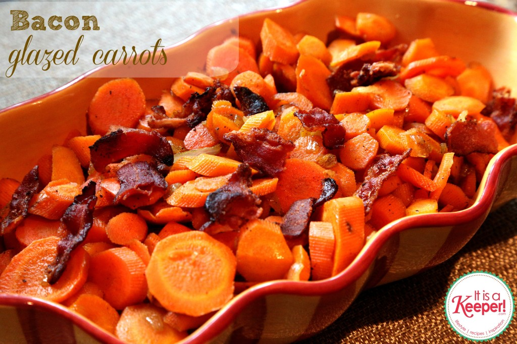 These Bacon Glazed Carrots are over the top good!  They are one of my favorite Thanksgiving menu recipes!