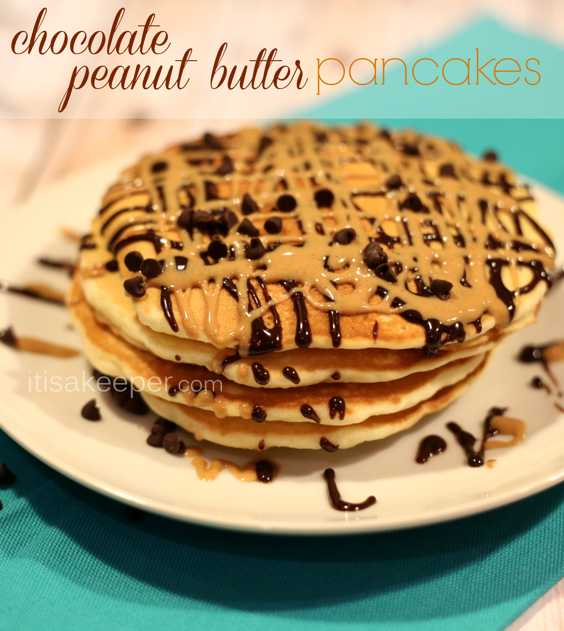 easy pancake recipe chocolate peanut butter pancakes it. Black Bedroom Furniture Sets. Home Design Ideas