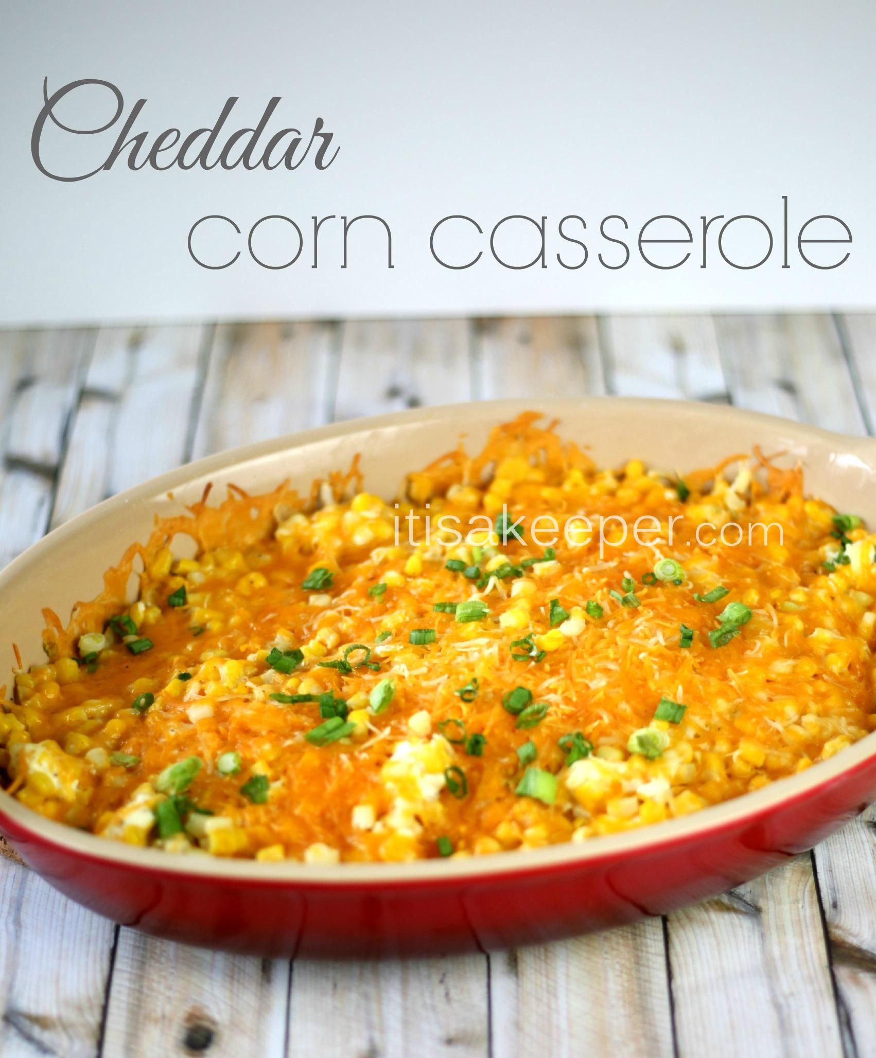Simple Casserole Recipes: Super Easy Recipes: Cheddar Corn Casserole