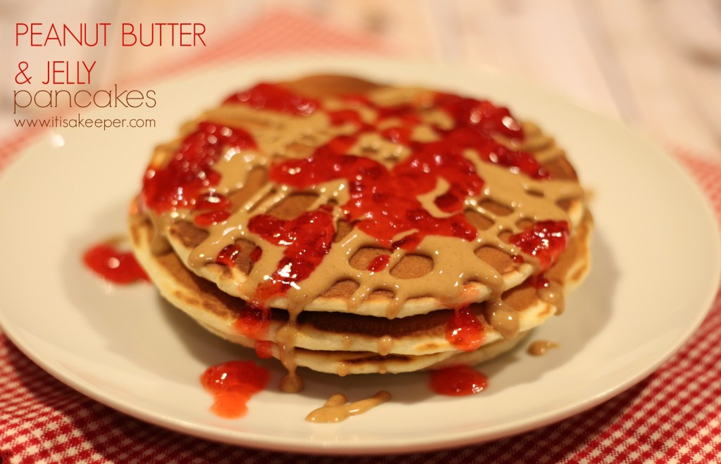 Easy Breakfast Recipes Peanut Butter & Jelly Pancakes~itisakeeper.com