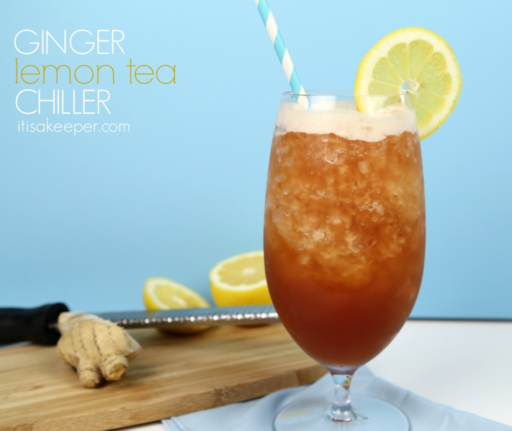 Ginger Lemon Tea Chiller on itisakeeper.com #BrewOverIce #BrewItUp