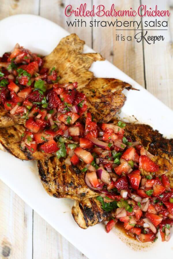 Grilled Balsamic Chicken with Strawberry Salsa - this quick and easy grilled chicken recipe is ready in 30 minutes