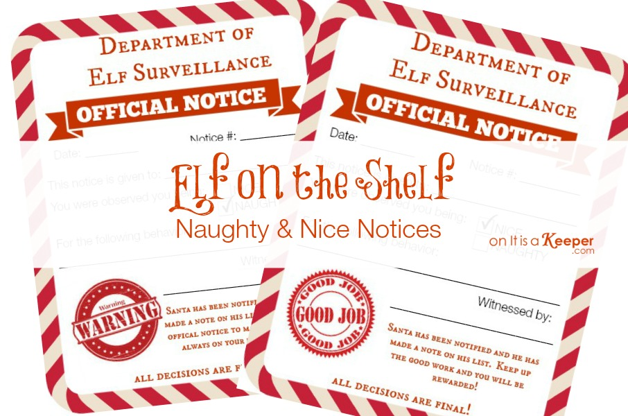Elf on a Shelf Ideas Naught & Nice Notices - It Is a Keeper