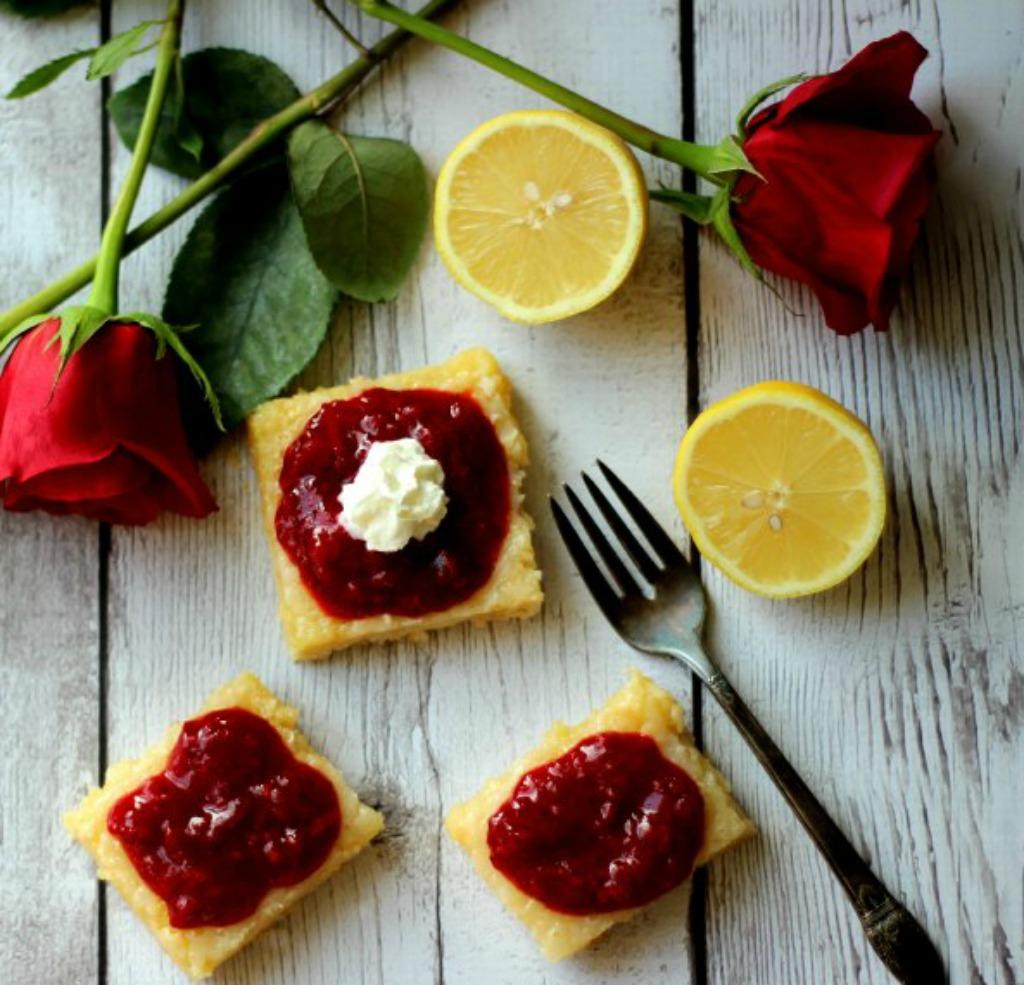Lemon Bars With Berry Sauce