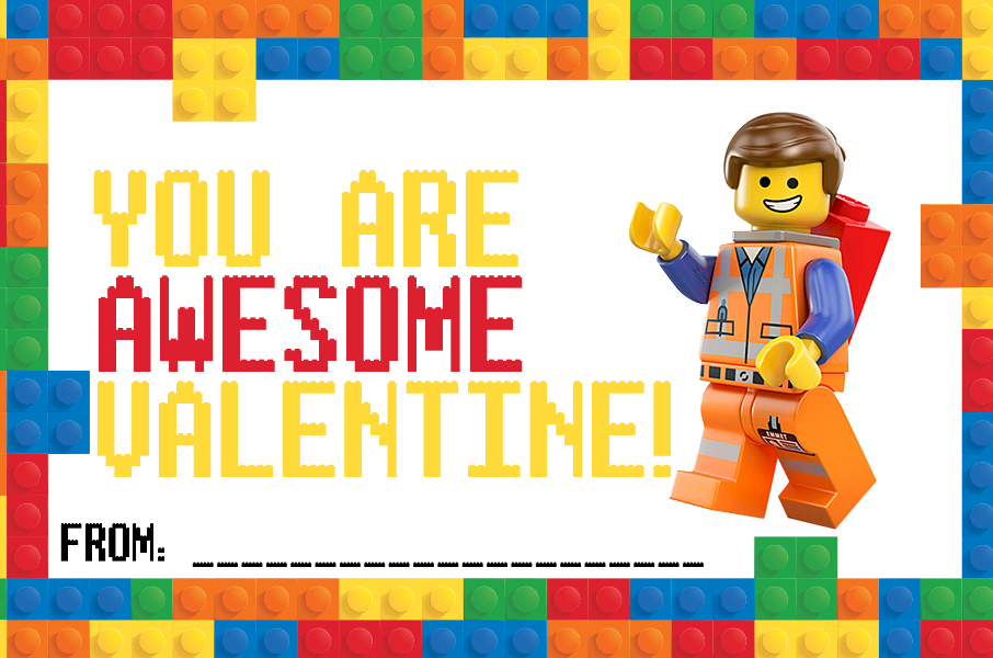 LEGO Valentine Cards Printable