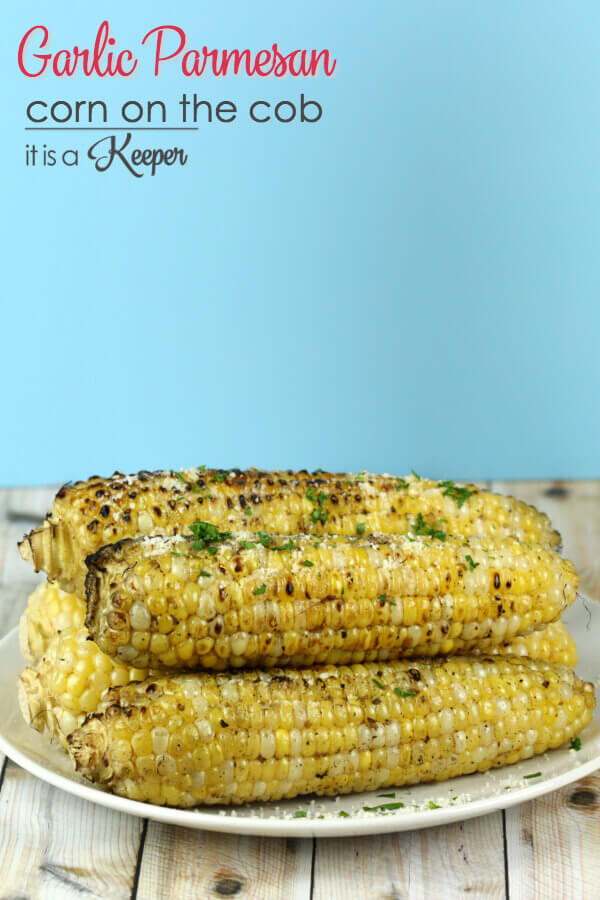 Garlic Parmesan Corn on the Cob - This grilled corn recipe is coated in garlic parmesan flavor