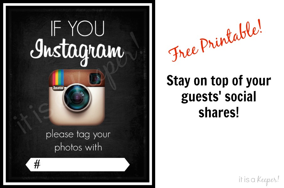 Instagram Party Sign Free Printable - It Is a Keeper