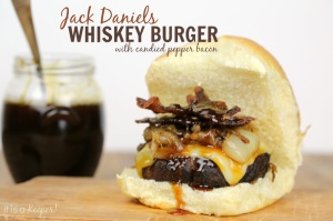 This Jack Daniels Whiskey Grilled Burger Recipe is packed with flavor and texture. It has candied peppered bacon and an amazing Jack Daniels glaze.