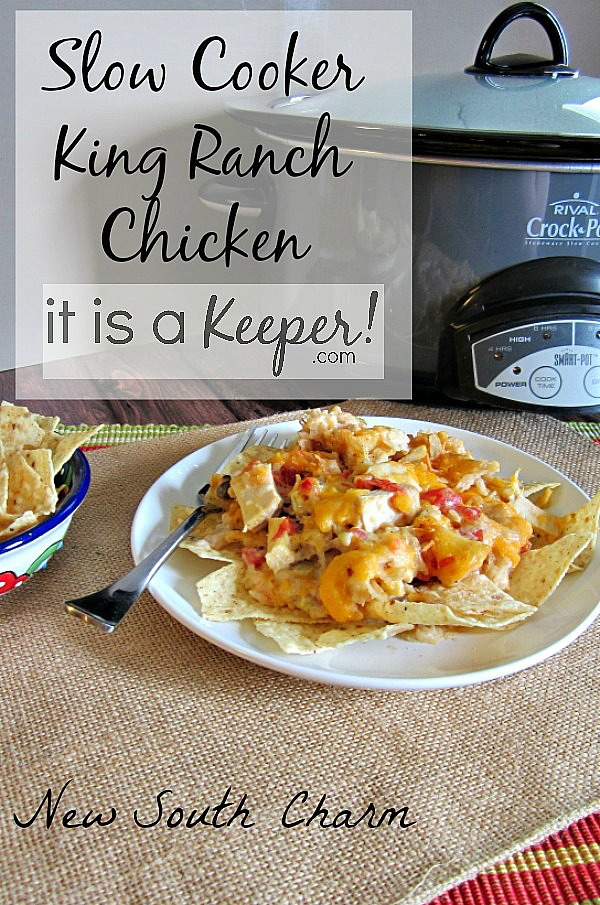 This Slow Cooker King Ranch Chicken is one of the best crock pot recipes for chicken.