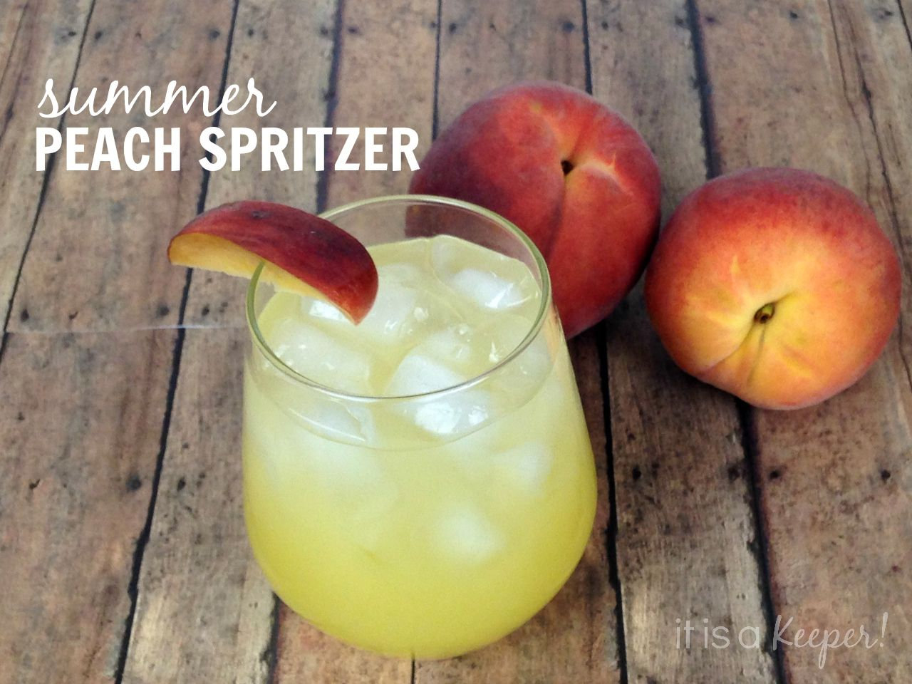 This Summer Peach Spritzer is an easy cocktail recipe - It Is a Keeper