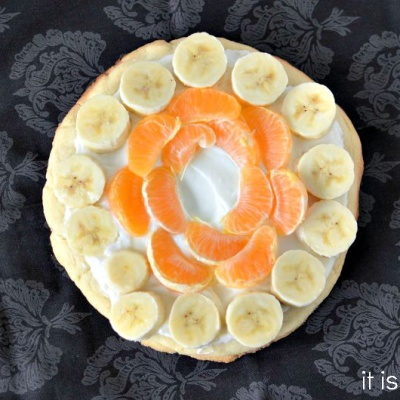 Candy Corn Fruit Dessert Pizza