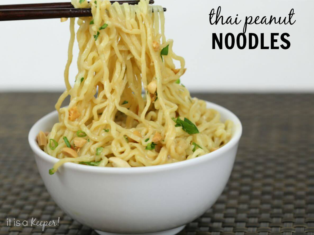 These easy Thai Peanut Noodles are ready in under 5 minutes