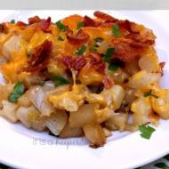 This easy bacon hash brown casserole is a great make ahead breakfast recipe F