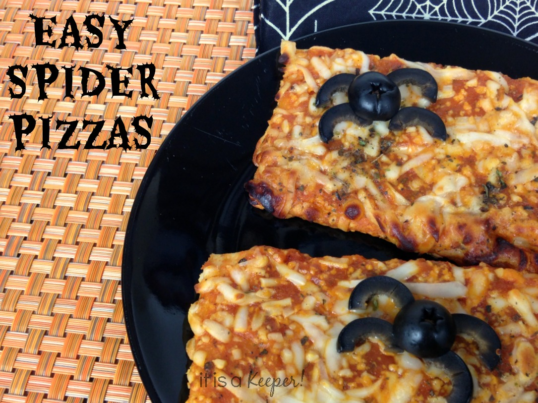 Halloween Treat Recipes  Easy Spider Pizzas