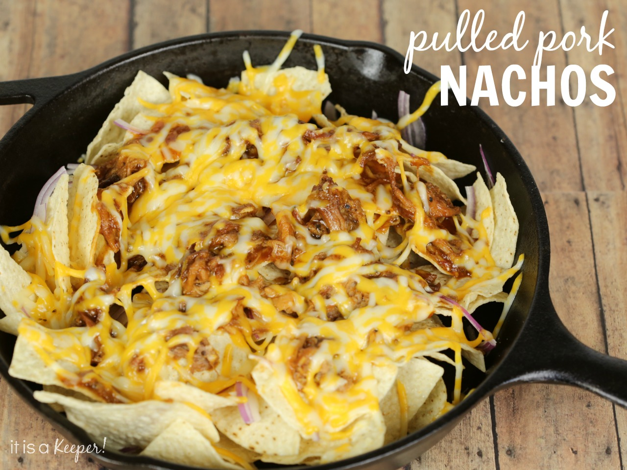 Slow Cooker Apple Bourbon Pulled Pork Nachos Recipe – an easy and delicious crock pot appetizer that is perfect for game day.