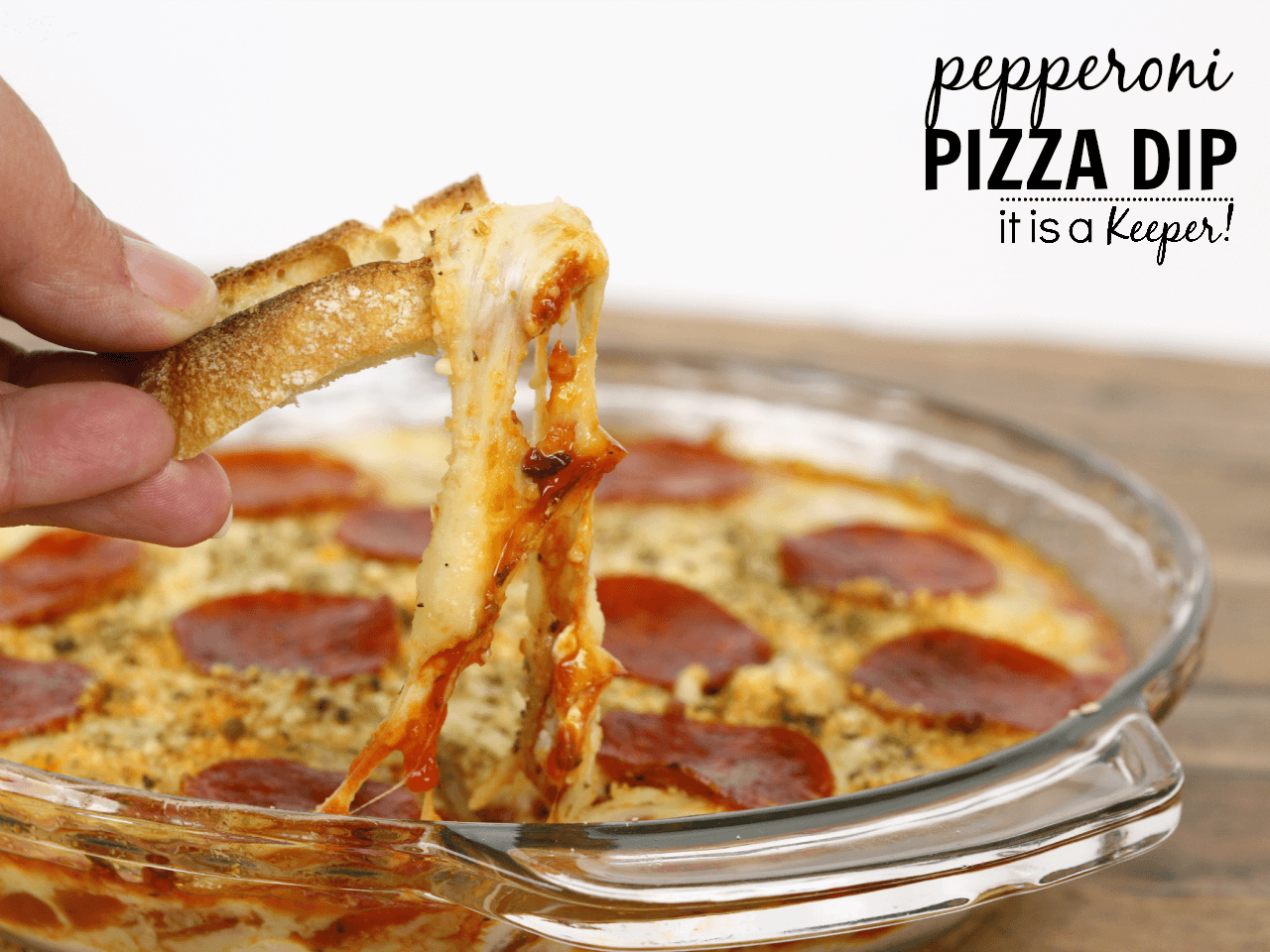 Pepperoni Pizza Dip - an easy appetizer recipe that you can whip up in under 30 minutes