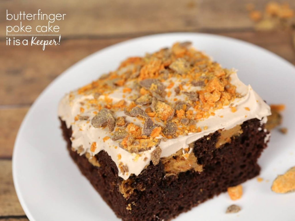 Butterfinger Poke Cake – an easy and decadent dessert recipe