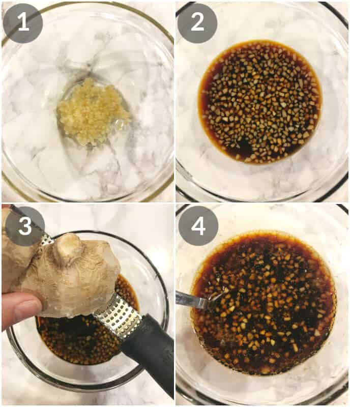 Korean Pork Chops steps. Add garlic, soy sauce, honey, ginger, sesame oil and sweet chil sauce.