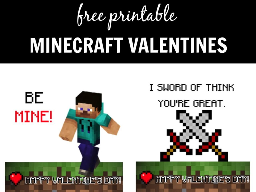Minecraft Valentines Day Cards Printable - 4 free printable valentines for you to download