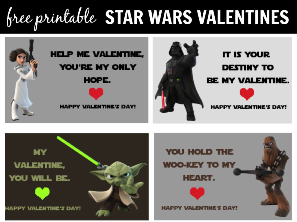 Star Wars Valentines Day Cards Printable - 4 free printable valentines for you to download