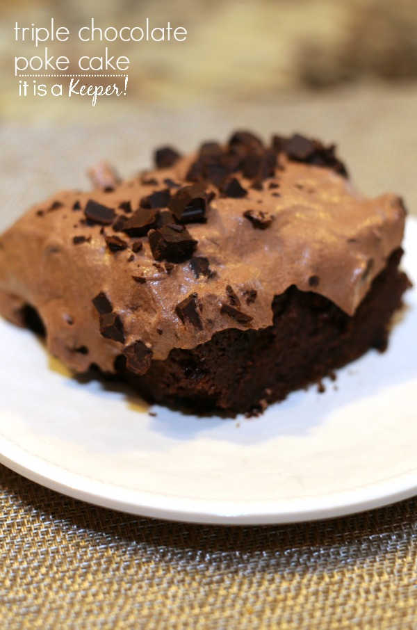 Triple Chocolate Poke Cake - this easy dessert recipe is made for chocoholics
