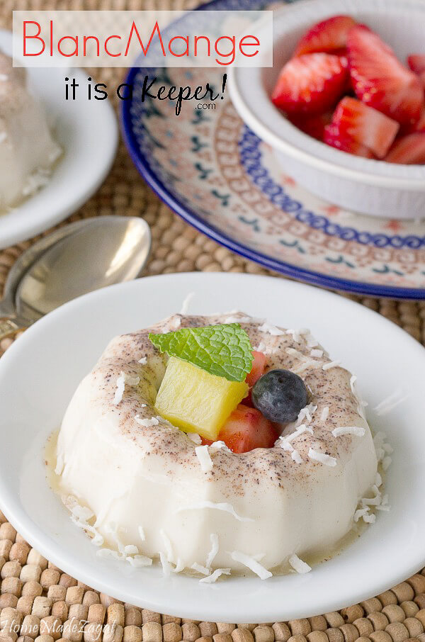 Coconut BlancMange recipe - a Caribbean inspired pudding served with fresh fruit is a decadent spring dessert