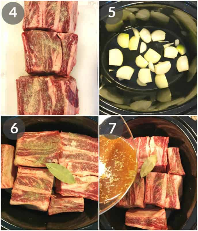 step by step photos for making crock pot short ribs braised in beer