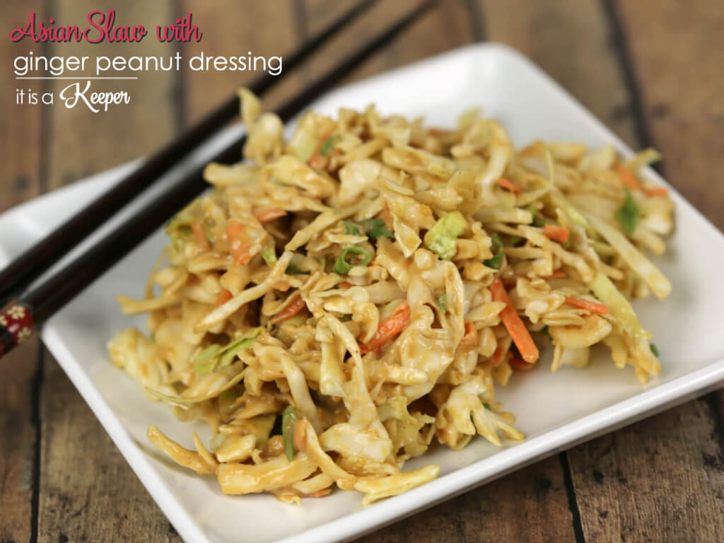 Asian Slaw - This easy coleslaw recipe has a delicious peanut ginger sauce