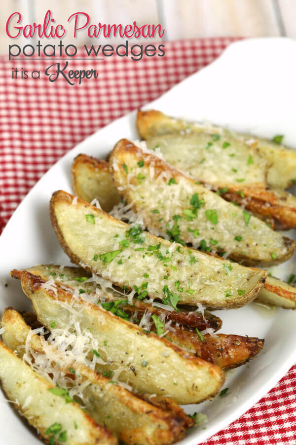 Garlic Parmesan Potato Wedges - this easy baked side dish is bursting with flavor