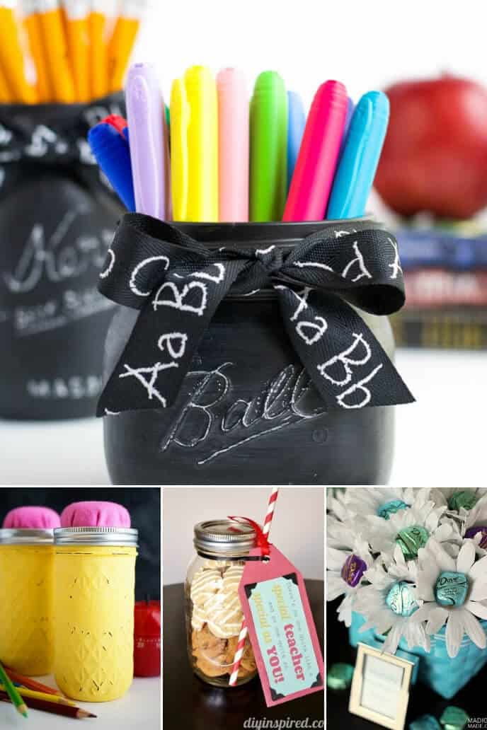 A collection of DIY teacher gifts made from mason jars