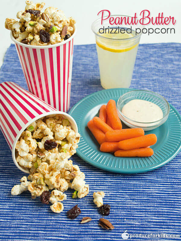 Peanut Butter Drizzled Popcorn - this quick recipe is an easy and healthy snack idea