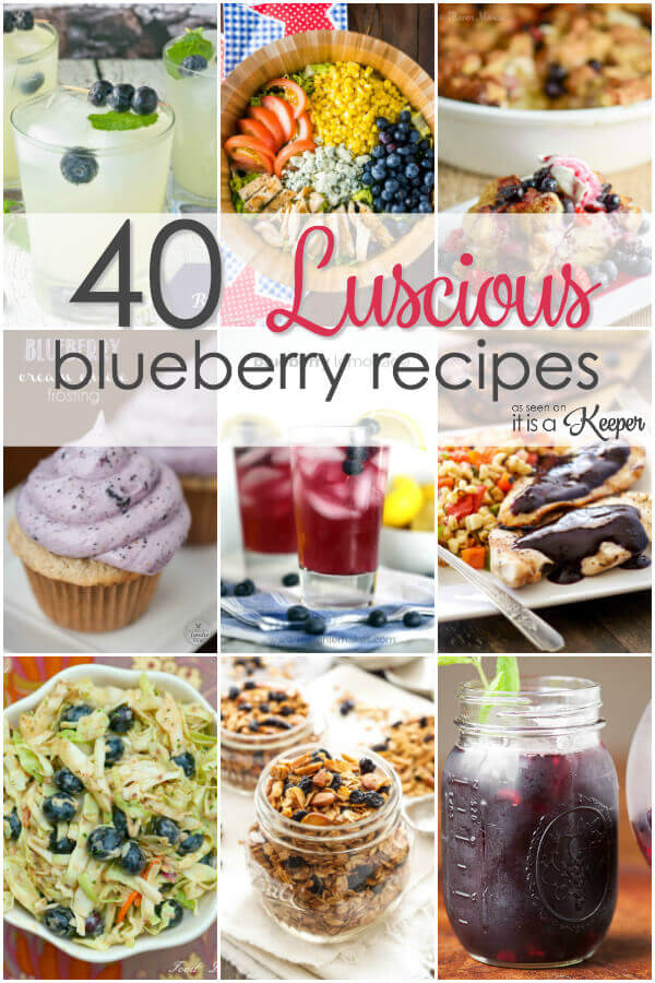 40 Luscious Blueberry Recipes - everything from cocktails, desserts, breakfasts and more
