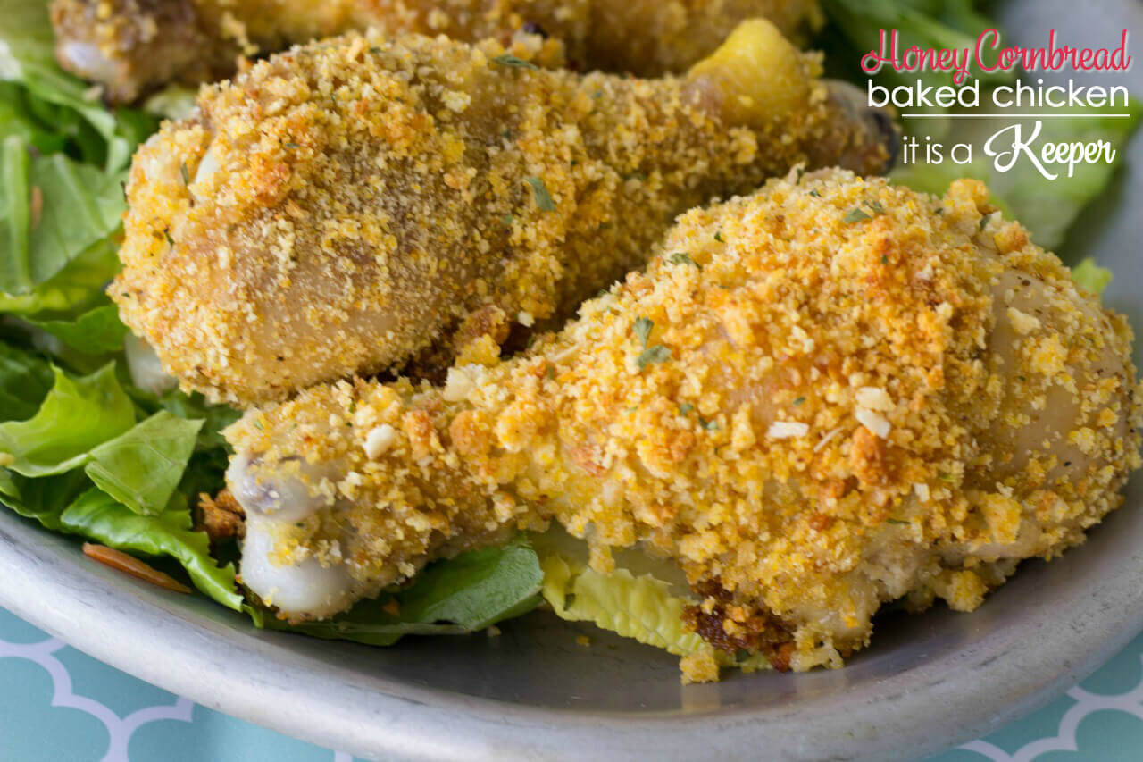 Honey Cornbread Chicken - this oven baked chicken has a crispy crunch