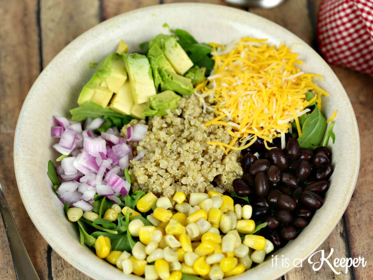 , this quinoa bowl was set up like a salad bar. We each took a bowl ...
