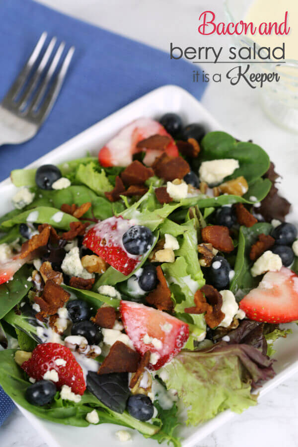 Bacon and Berry Salad - this fresh salad recipe is loaded with bacon and berries and topped with a Mojito dressing