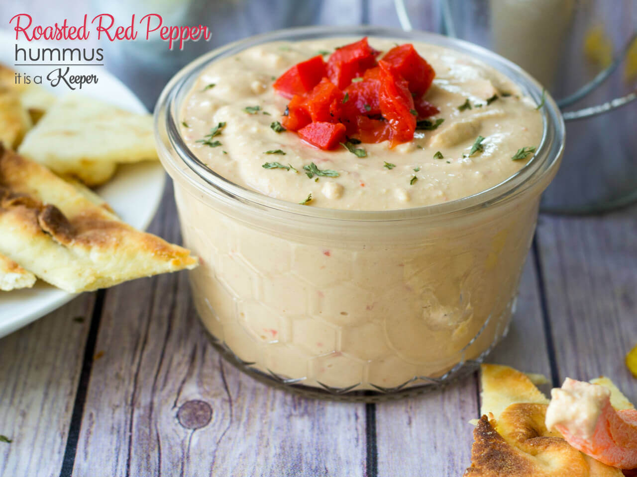 Roasted Red Pepper Hummus - this easy dip makes a great appetizer or snack