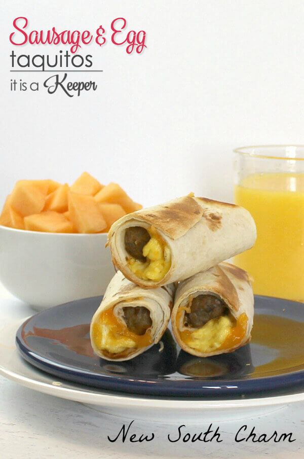 Sausage and Egg Taquitos - this easy make ahead breakfast recipe is great on the go