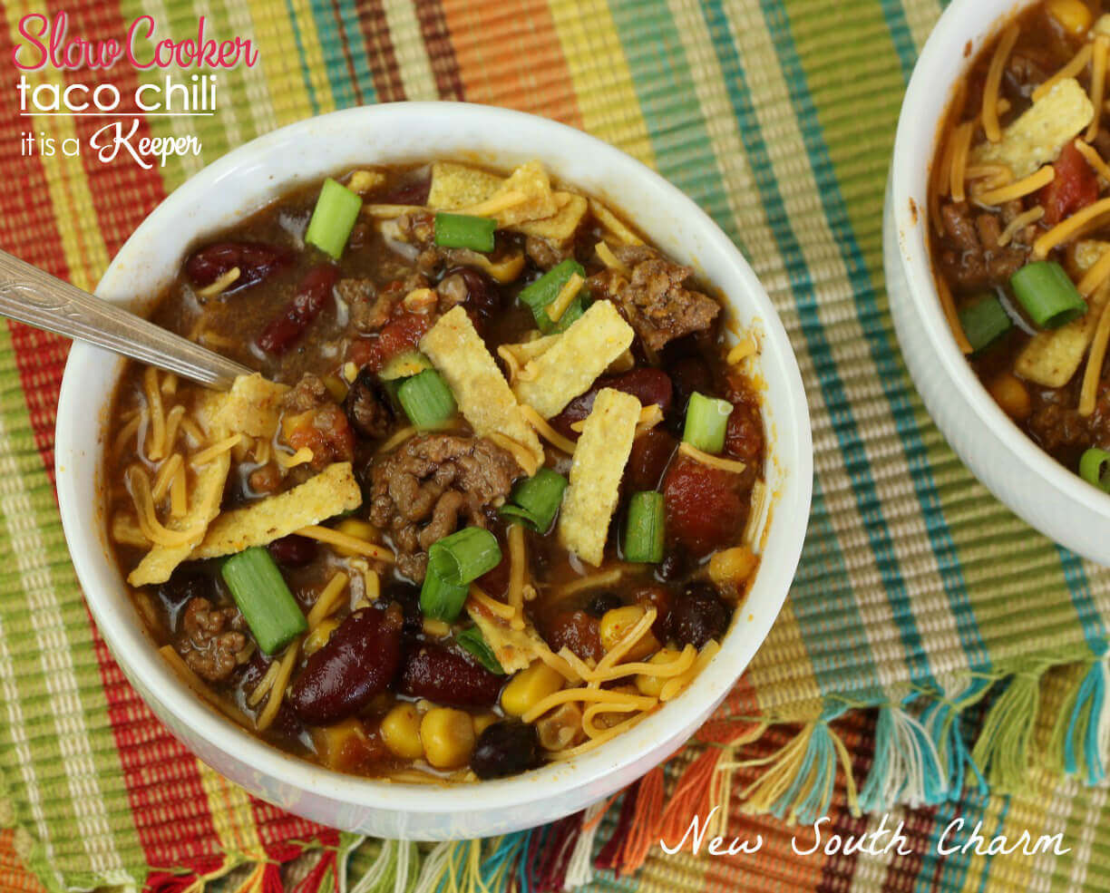This easy Slow Cooker Taco Chili is perfect for chilly days. It will quickly become one of your favorite easy crock pot recipes because its definitely one of the best slow cooker recipes of all time.