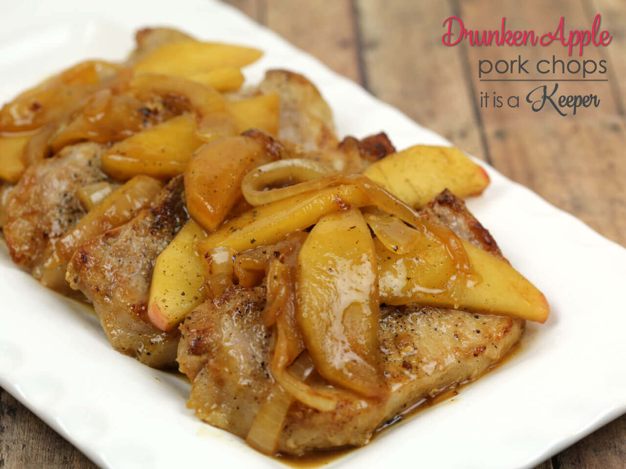 Roasted Pork Chops With Drunken Honeycrisp Apples Recipe — Dishmaps