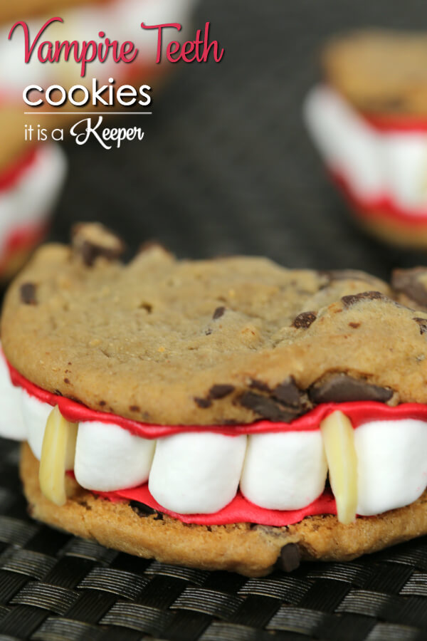 Vampire Teeth Cookies - this easy and fun cookie recipe is perfect for Halloween