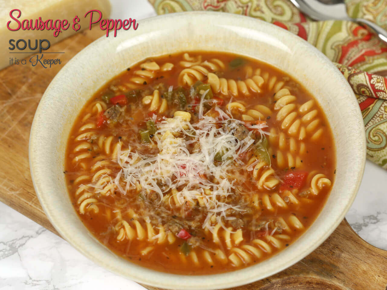 Sausage and Pepper Soup - the easy soup recipe is ready in under 30 minutes