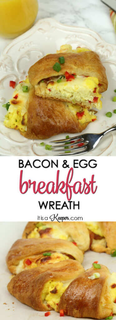 Bacon Breakfast Wreath - this easy make ahead breakfast ring recipe is always a hit