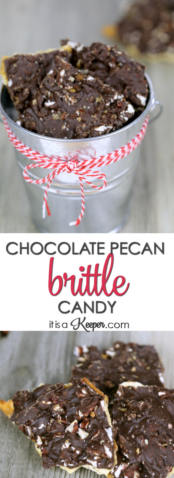 Chocolate Pecan Brittle - this easy candy recipe is a salty and sweet treat