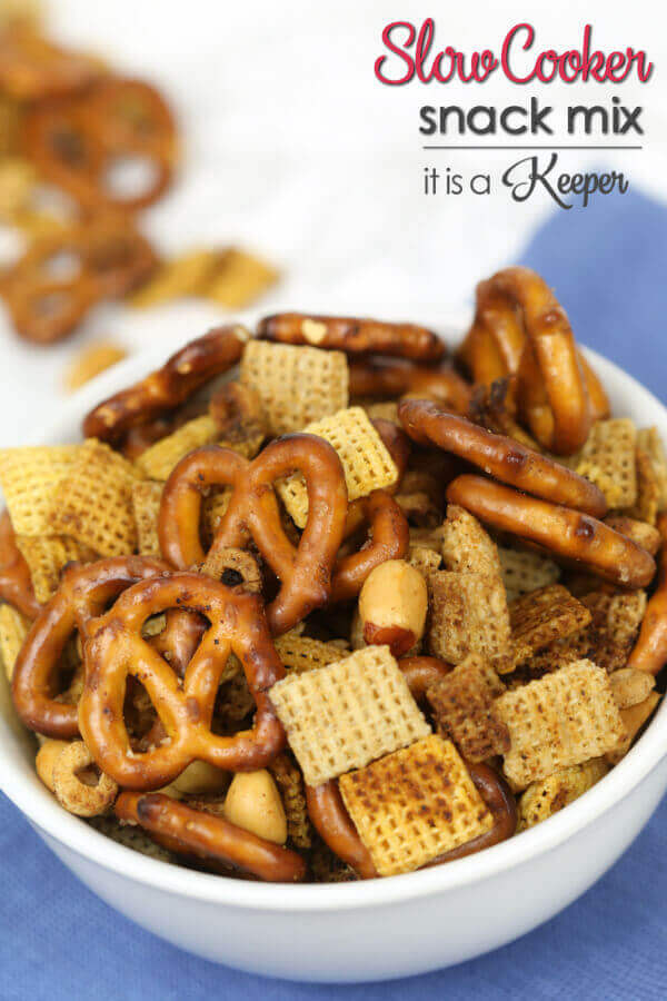 This Slow Cooker Party Snack Mix is one of my favorite easy Crock-Pot® slow cooker recipes. It's super delicious and one of the best slow cooker recipes of all time.