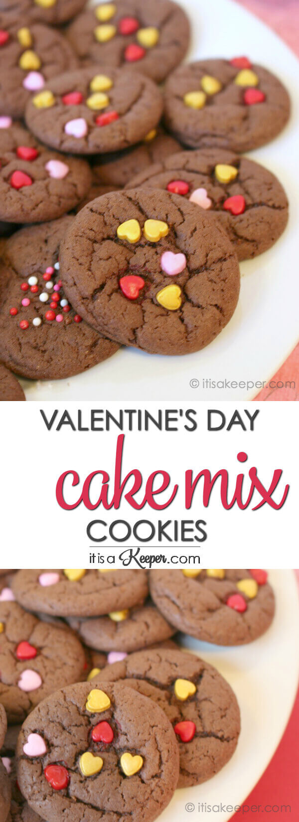 Valentine Cake Mix Cookies - this easy cookie recipe is the perfect Valentine's Day treat